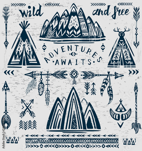 Canvas Print Set of vector on the theme of travel and adventure.