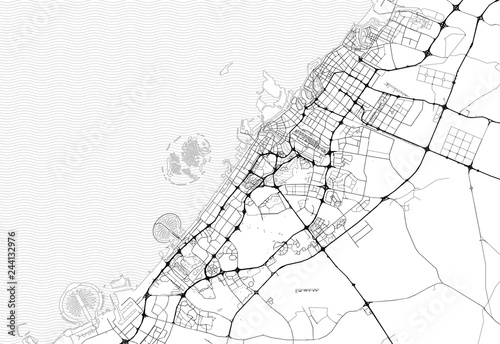 Obraz na plátně Area map of Dubai, United Arab Emirates