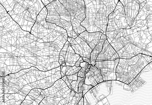 Fotografie, Obraz Area map of Tokyo, Japan
