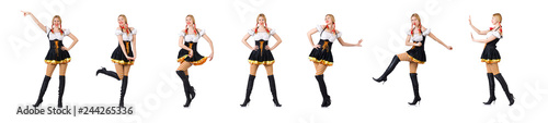 Photographie Woman in bavarian costume isolated on white