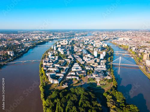 Obraz na płótnie Nantes aerial panoramic view, France