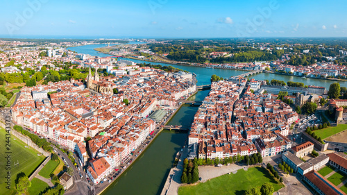 Bayonne aerial panoramic view, France