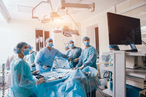 Obraz na plátně Process of gynecological surgery operation using laparoscopic equipment