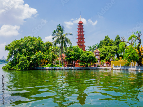 Stunning view of Tran Quoc Pagoda, the oldest temple in Hanoi, Vietnam