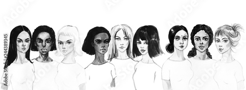 Watercolor portrait of asian, indian, african and european young women. Painting fashion and feminist illustration. Hand drawn beautiful international girls on white background