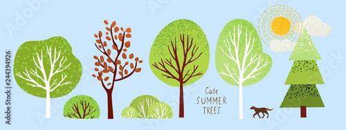 Fotografering cute summer trees, vector isolated illustration of trees, leaves, fir trees, shr
