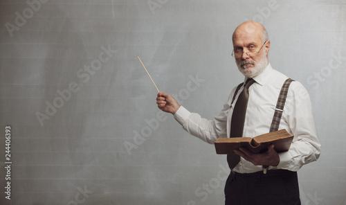 Canvas Print Senior academic professor giving a lecture