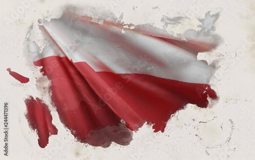 Wallpaper Mural Polish Flag, Poland National Colors Background  <<3D Rendering>>
