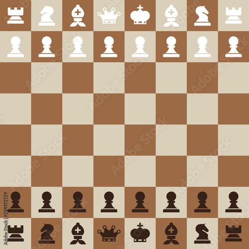 Chessboard. Top View Vector Flat Design Chess Board. Fototapet