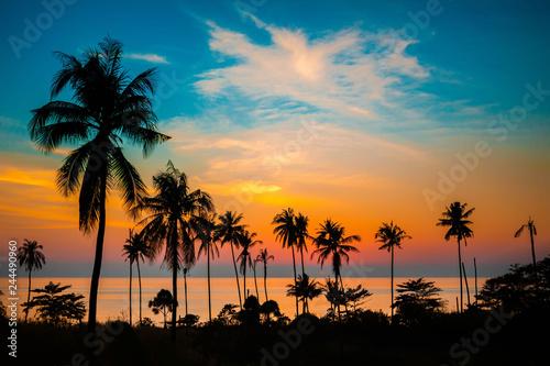 Canvas Print Palm trees at sunset, Koh Chang