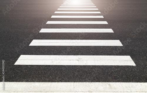 zebra  black white crossing on the road Fototapeta