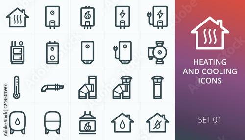 Fotografia Home heating system icons set