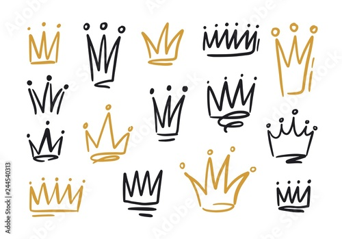 Bundle of drawings of crowns or coronets for king or queen Fototapeta
