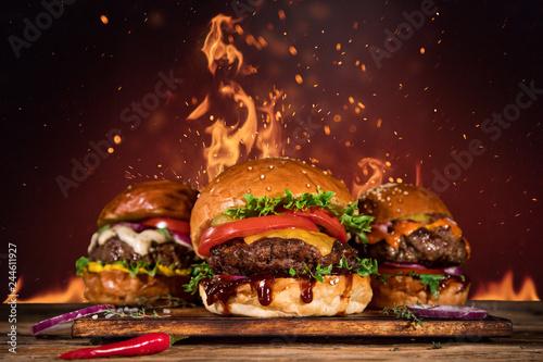 Obraz na płótnie Tasty burger with french fries and fire.