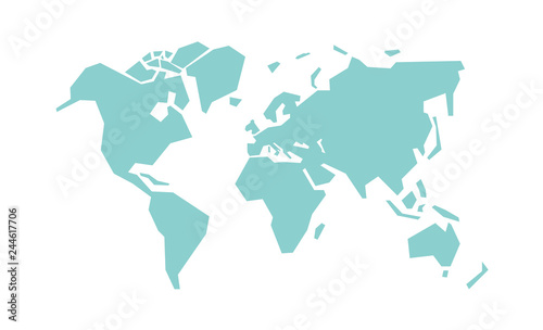 Simplified world map. Stylized vector illustration #244617706