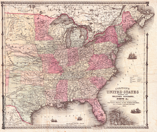 Billede på lærred 1862, Colton Pocket Map of the United States, Civil War
