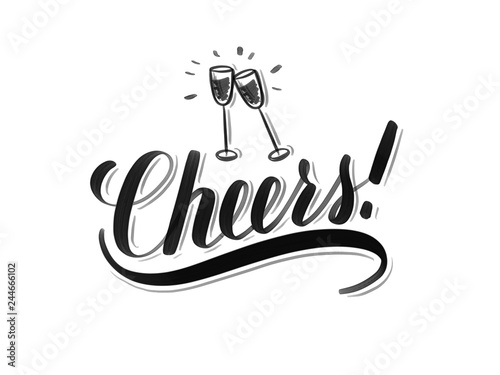 Photo Cheers inscription with hand drawn wine glasses on isolated on white background