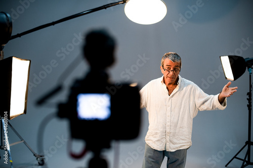 Obraz na płótnie Actor in front on the camera in an audition