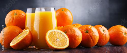 Glasses with freshly squeezed orange juice