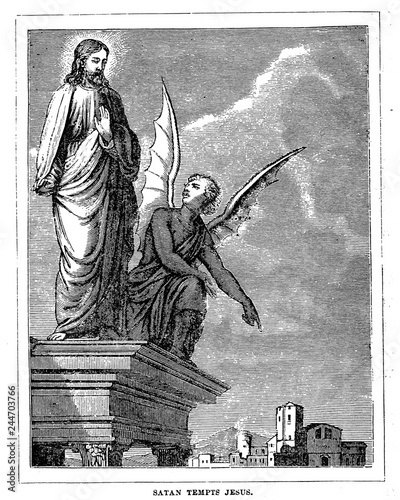 Stampa su Tela Satan tempts Jesus