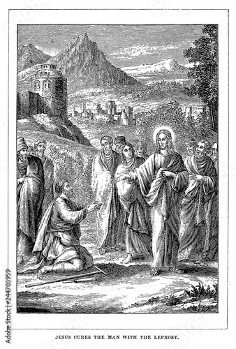 Carta da parati Jesus cures the man with the leprosy