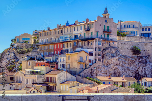 Fotografie, Tablou The mediterranean houses and terrace in the old city, Marseille, France