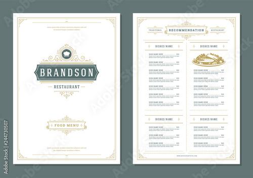 Fotografia Restaurant menu design and label vector brochure template.