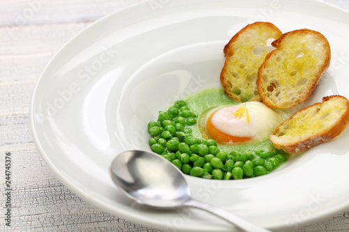tear peas with poached egg, spanish basque cuisine