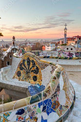 Valokuvatapetti Sunrise view of the Park Guell designed by Antoni Gaudi, Barcelona