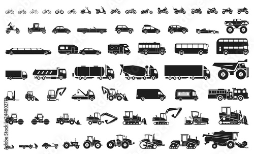 Set of various transportation and construction machinery. Icons of Motorcycles and bicycles, cars, heavy trucks, Heavy-duty vehicles and buses.