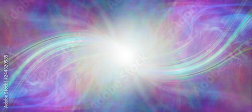 Billede på lærred Mindfulness connection with the Divine Source - central white energy orb with a