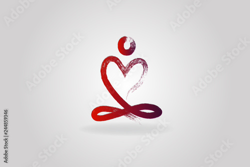 Yoga man love heart logo icon