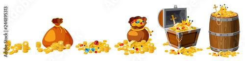 Fotografie, Obraz Set Treasure, gold, coins, bars, jewels, crown, sword, chest, barrel, vector, is