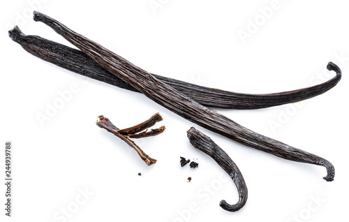 Dried vanilla stick isolated on white background.