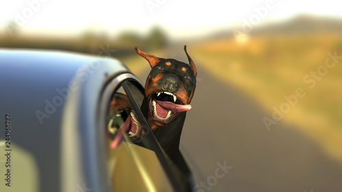 Foto Doberman dog enjoying car ride head out of window with funny expression 3d illus