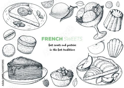 Fotografiet A set of french desserts with lemon tart, faux crepe cake, creme brulee, apple tart, canele, macarons