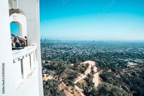 Obraz na płótnie Los Angeles downtown view from the Griffin Observatory.