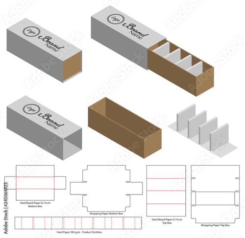 Cuadros en Lienzo Box packaging die cut template design. 3d mock-up