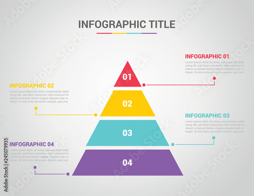 Obraz na plátně infographic template with pyramid style with free space text for description wit