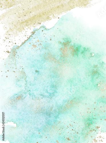 Gold, blue and turquoise watercolor texture design. Brush stroke frame / border. Shimmering modern art. Illustration.