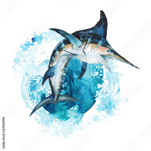 Watercolor hand-drawn marlin illustration - jumping up from the foamy ocean wave, playful, happy Fototapeta