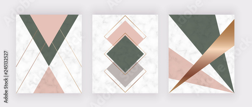 Modern geometric marble design with golden lines, pink and green triangles and hexagons shapes. Fashion background for banner, graphic poster, scandinavian art, flyer, poster, wedding invitation, card