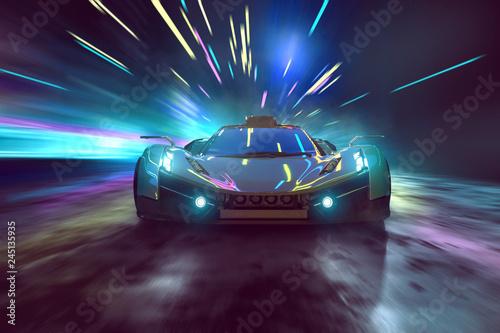 Sportwagen fährt durch surreale Nachtszene