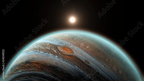 Obraz na plátně Jupiter planet in space, close up shot