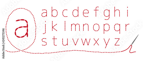 Fotografering 和風刺繍 アルファベット(小文字)返し縫い