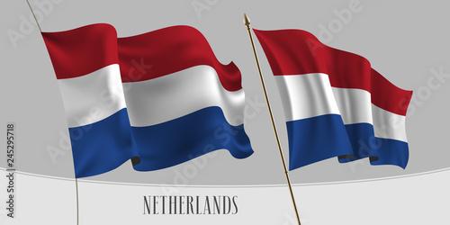 Wallpaper Mural Set of Netherlands waving flag on isolated background vector illustration