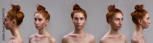 Fototapeta premium Zestaw kolaży portretów. Close-up portret seksowny piękny szczupły czerwone włosy kobiety pozycja na szarym tle. Inny kąt widzenia twarzy dziewczyny.