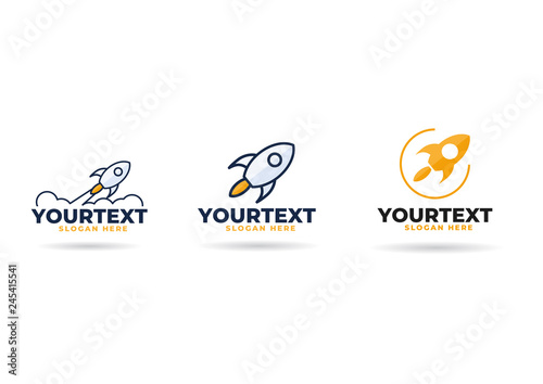 Fotografia rocket logo,  icon or sign. Flat vector