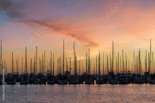Sailboats in the South Yacht Basin of St. Petersburg, Florida at sunrise