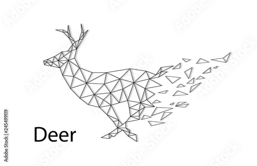 Abstract silhouette of a deer from collapsing polygons.